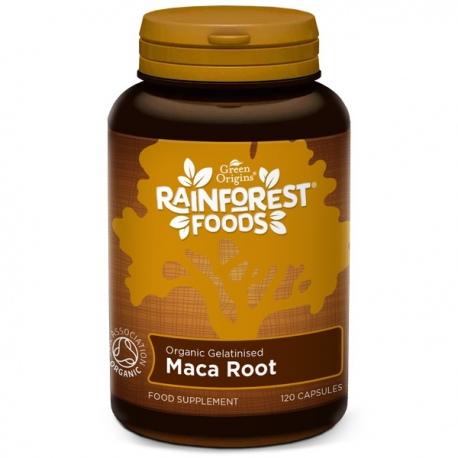 Bio Maca želatinovaná 120 kapsúl x 500mg Rainforest Foods - zmes 4 druhov