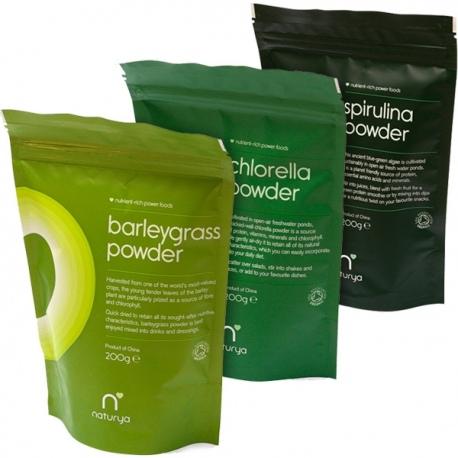 BIO Zelený balík č.1 Naturya 600g (Mladý jačmeň 200g + Chlorella 200g + Spirulina 200g)