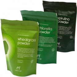 BIO Mladá pšenica 200g + Chlorella 200g + Spirulina 200g Naturya