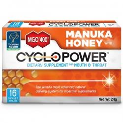 CycloPower 16ks cmúľacích pastiliek s Manuka medom MGO 400+ Manuka Health NZ - na ústa a hrdlo