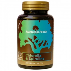 BIO Chlorella a Spirulina tabletky 300 x 500mg Rainforest Foods