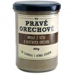 Maslo z vlašských a kešu orechov 400g Pravé Orechové - mleté 60% vlašské, 40% kešu