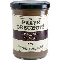 Arašidové maslo s čokoládou 400g Pravé Orechové - mleté 90% arašidy, 10% tmavá čokoláda Callebaut