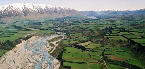 Rozľahlé Canterburské nížiny na Novom Zélande