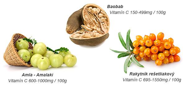 Obsah vitamínu C v amla, rakytníku a baobabe