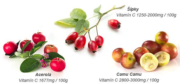 Obsah vitamínu C v acerole, šípkach a camu camu
