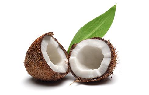 Rozpolený zrelý kokosový orech