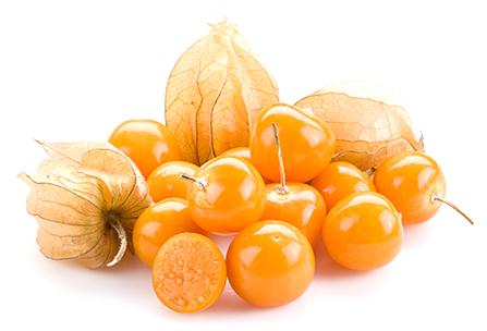Plody physalis, anglicky golden berries, machovka peruánska