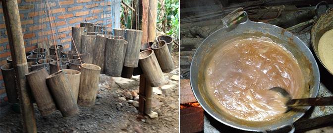 Bambusové nádoby a zahrievanie nektáru z kokosových kvetov na hustý sirup.